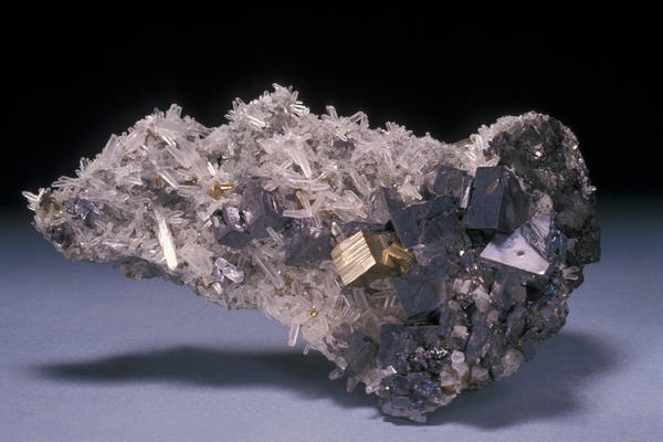 Galena (crystals), with well-formed crystals of pyrite and quartz