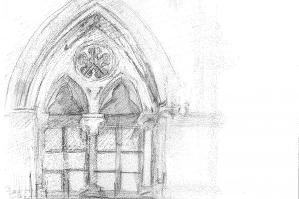 2019 artist in residence fiona oakley architecture drawings of oumnh window