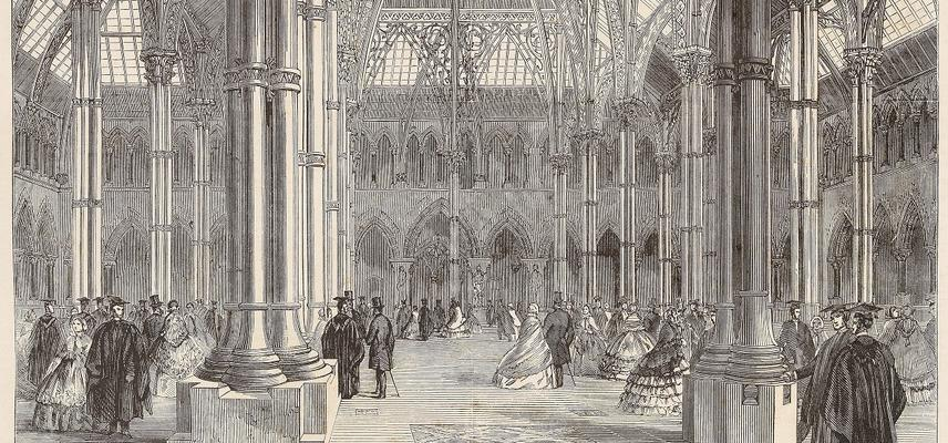 A print of a black and white engraving showing the central court of Oxford University Museum of Natural History in the 19th century