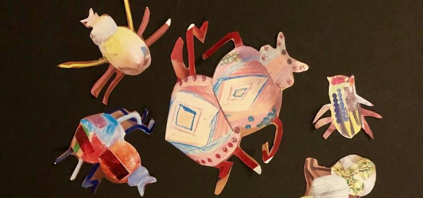Image showing completed paper insects from a make your own beetle activity