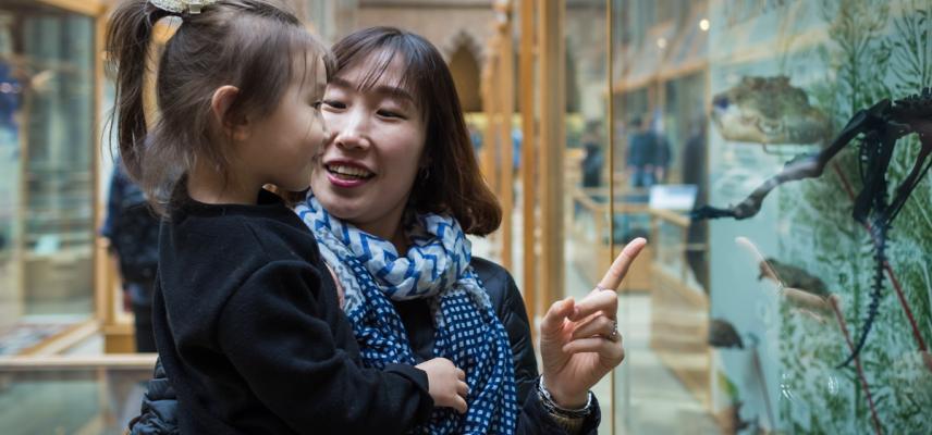 Mum and child looking at display