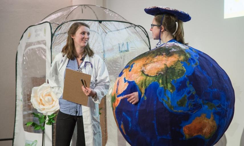 Operation Earth science show performers in costume