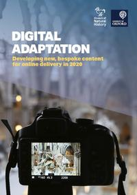 Report cover image showing DSLR camera recording a live view of skeleton specimens in a museum building